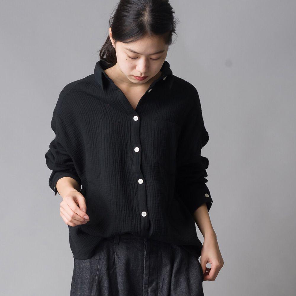 日本女裝代購 - 楊柳風純棉前短後長落肩顯瘦襯衫-石墨黑 (Free size)