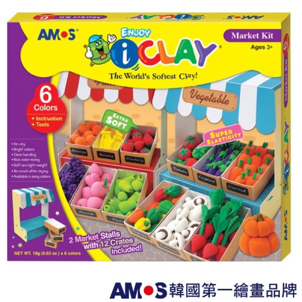 韓國 AMOS - 6色蔬菜水果攤DIY超輕黏土