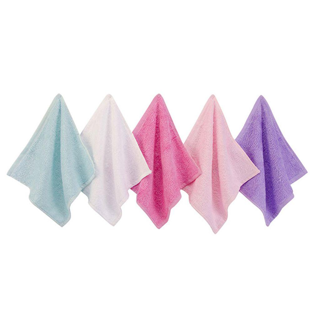 美國 Luvable Friends - 多功能嬰幼兒天然竹纖維小方巾/洗澡巾/擦嘴巾5入組(25*25cm)-粉紫綠 (單一尺寸)
