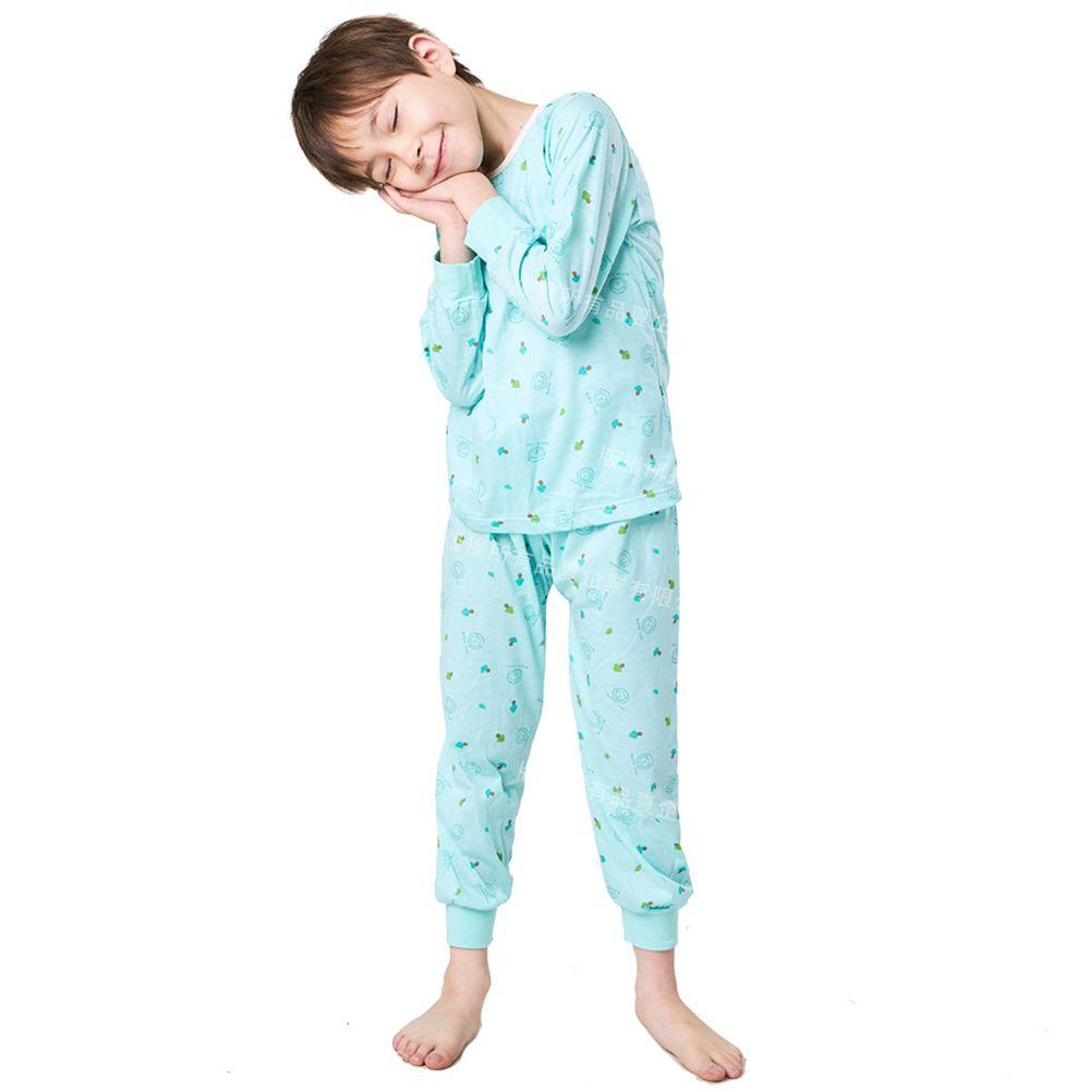 GIAT - 奶油獅長袖居家套裝(上衣+長褲)-湖水綠