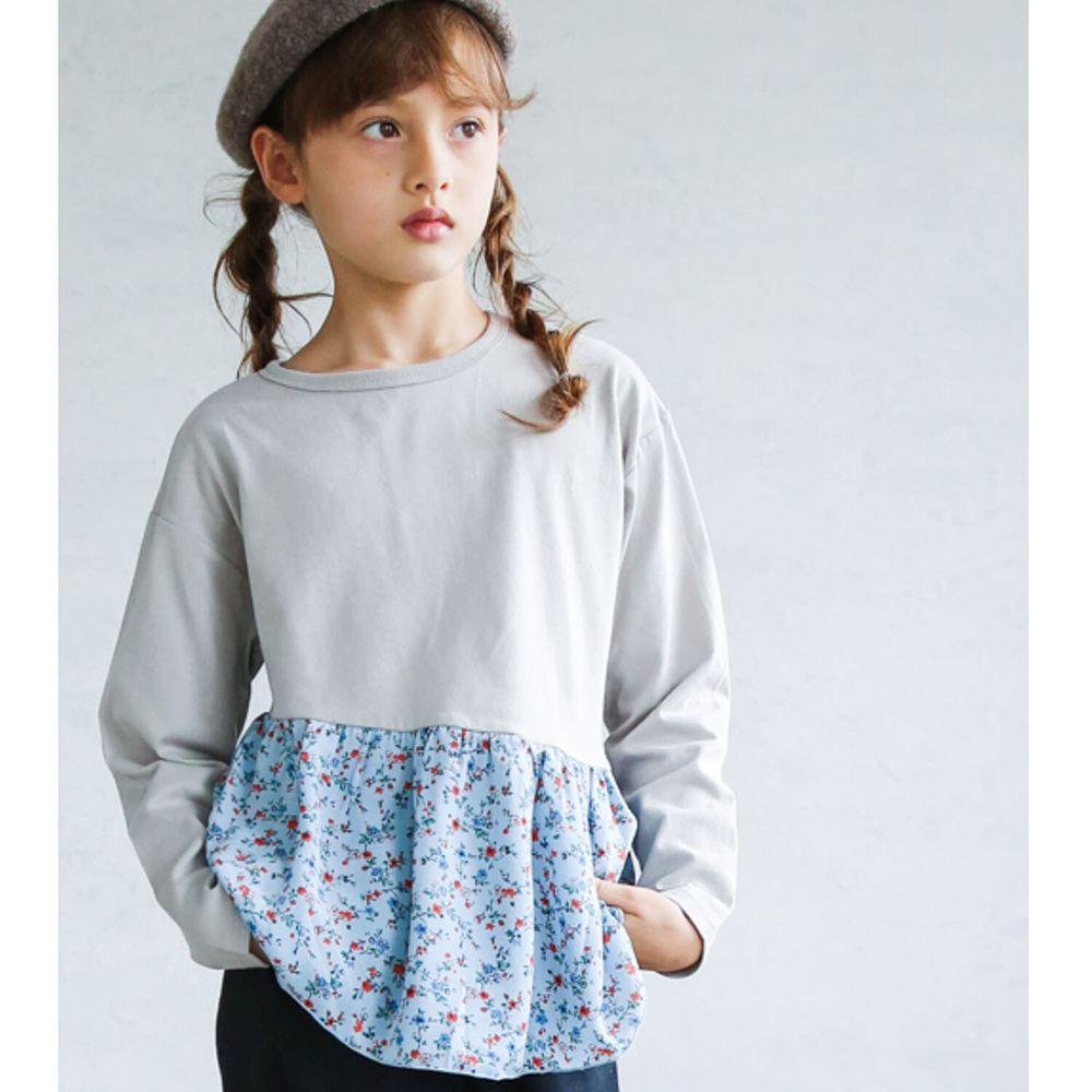 日本 PAIRMANON - 100%柔棉 斜邊荷葉拼接長袖上衣-碎花-灰藍
