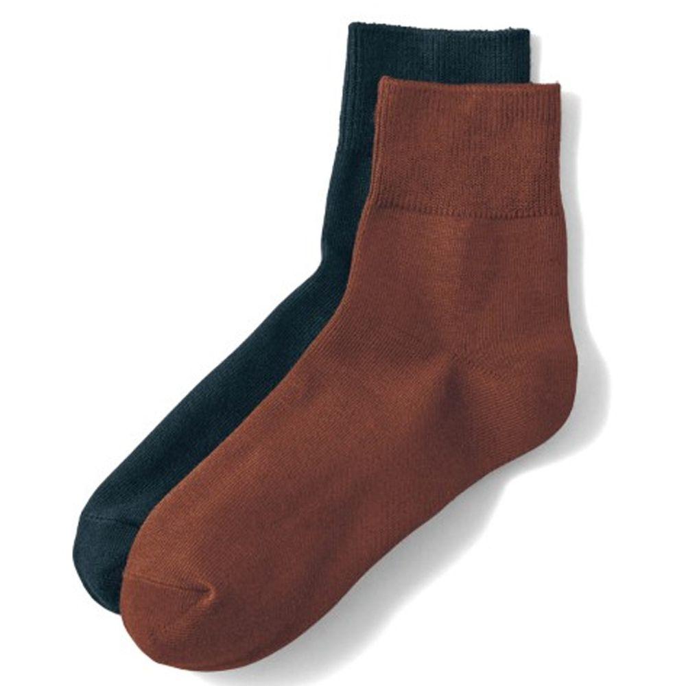 日本千趣會 - 棉混 (媽媽)短筒發熱襪兩件組-焦糖咖啡+黑 (23-25cm)