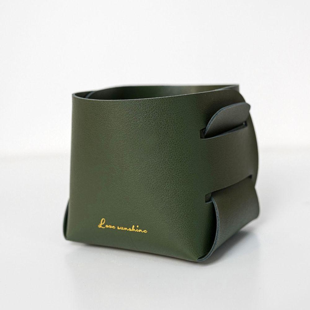 北歐簡約風皮質收納盒-墨綠色