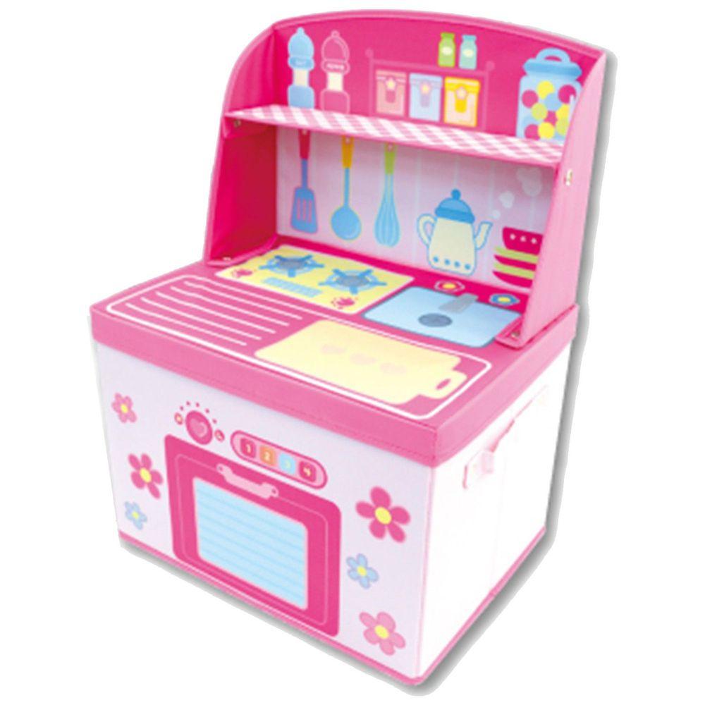 日本 U-COMPANY - 小書桌型折疊收納箱-小花廚房