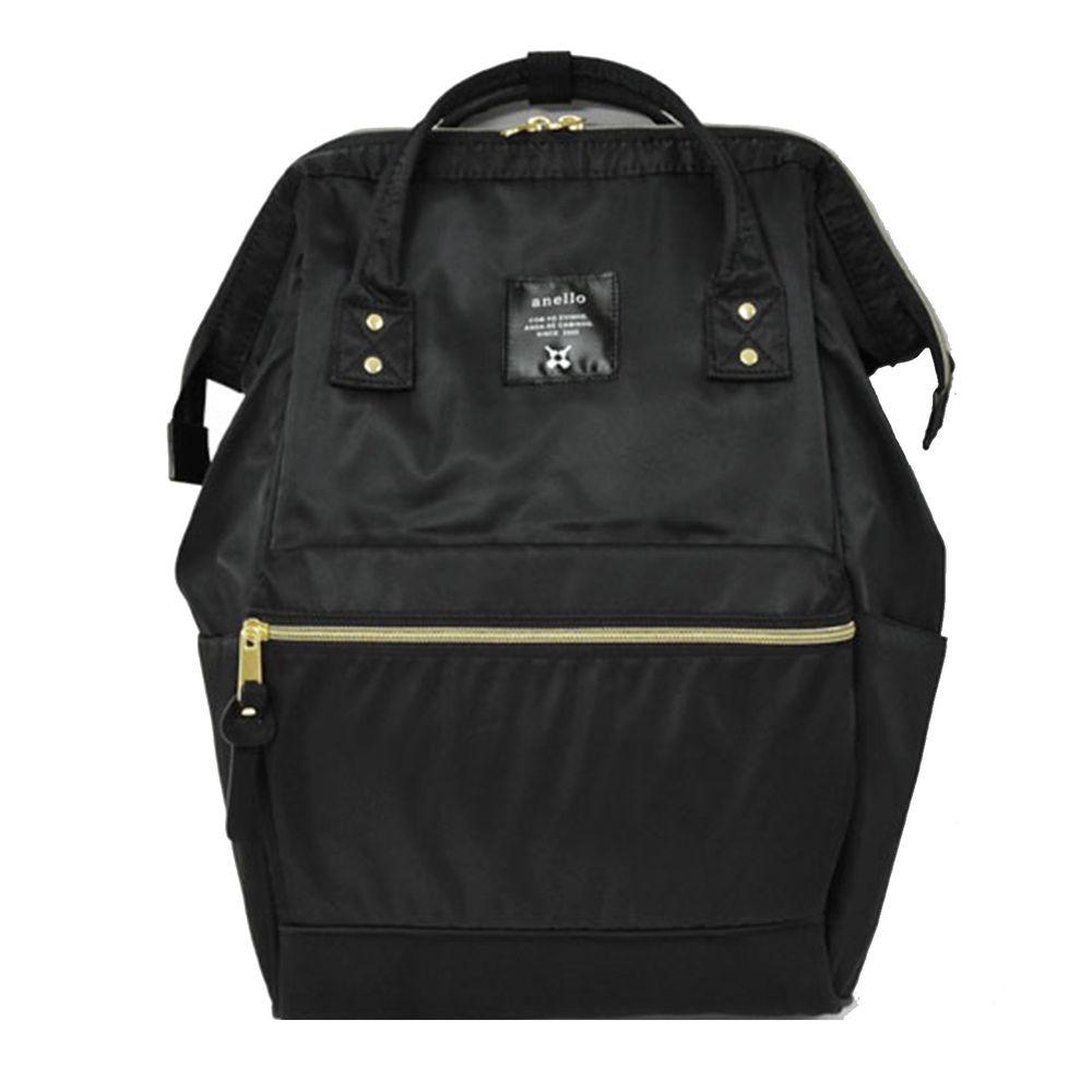 日本 Anello - 日本大開口高密度尼龍後背包-Regular大尺寸-BK黑色