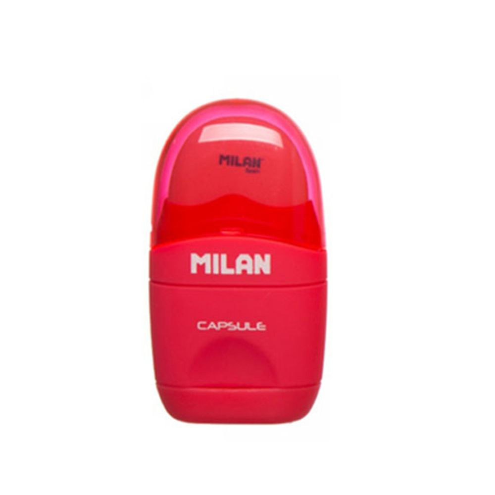 MILAN - 太空膠囊橡皮擦+削筆器_螢光系列_魔力紅