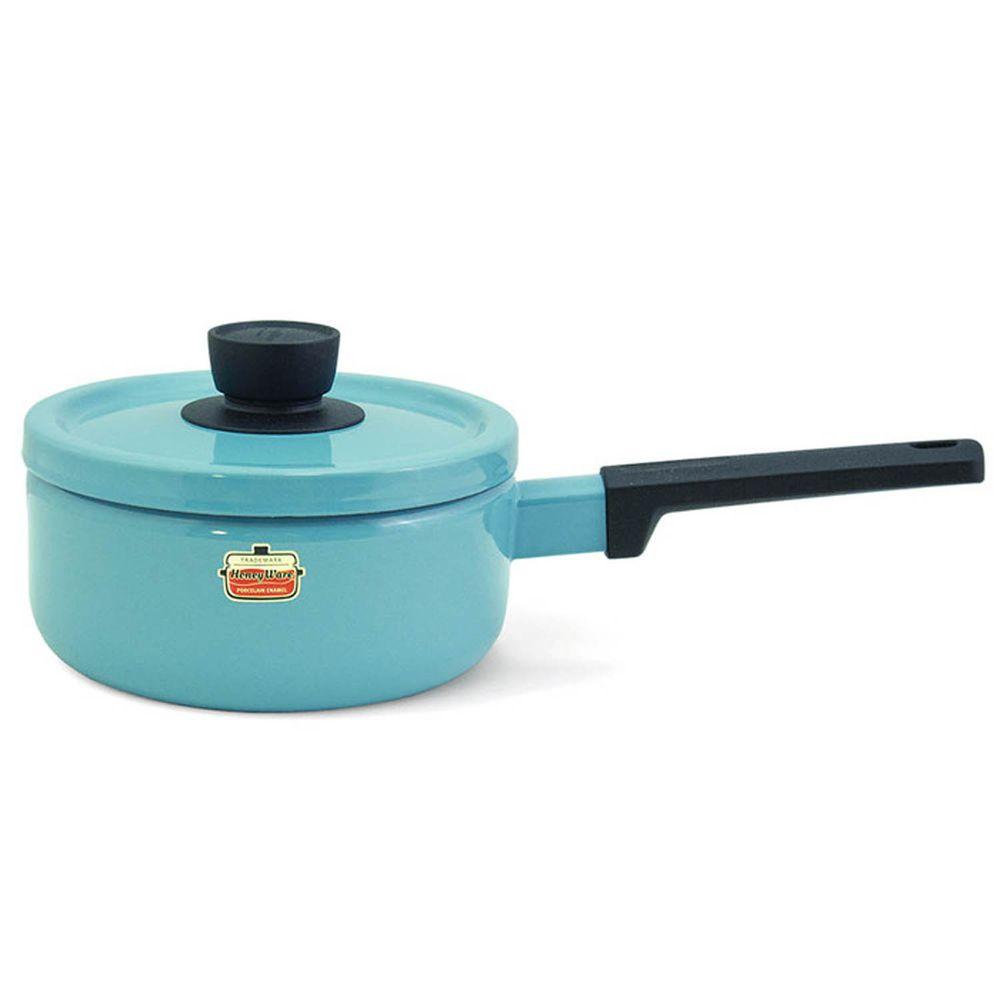 FUJIHORO 富士琺瑯 - Solid 經典系列-18cm單柄附蓋琺瑯調理鍋-湖水綠-容量:2.2L 重量:1.25kg