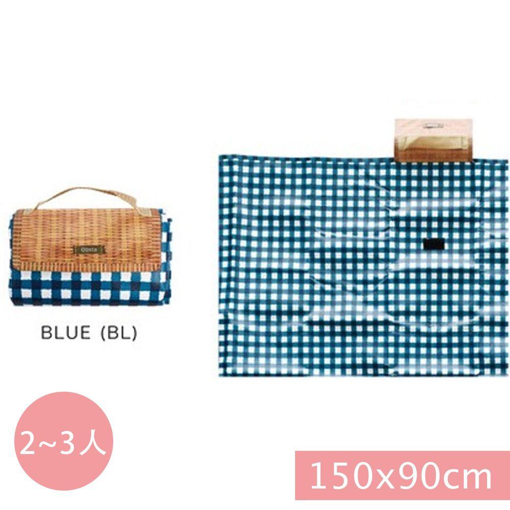 日本現代百貨 - 輕便可收納 防水野餐墊(2-3人)-藍白格子 (150x90cm)