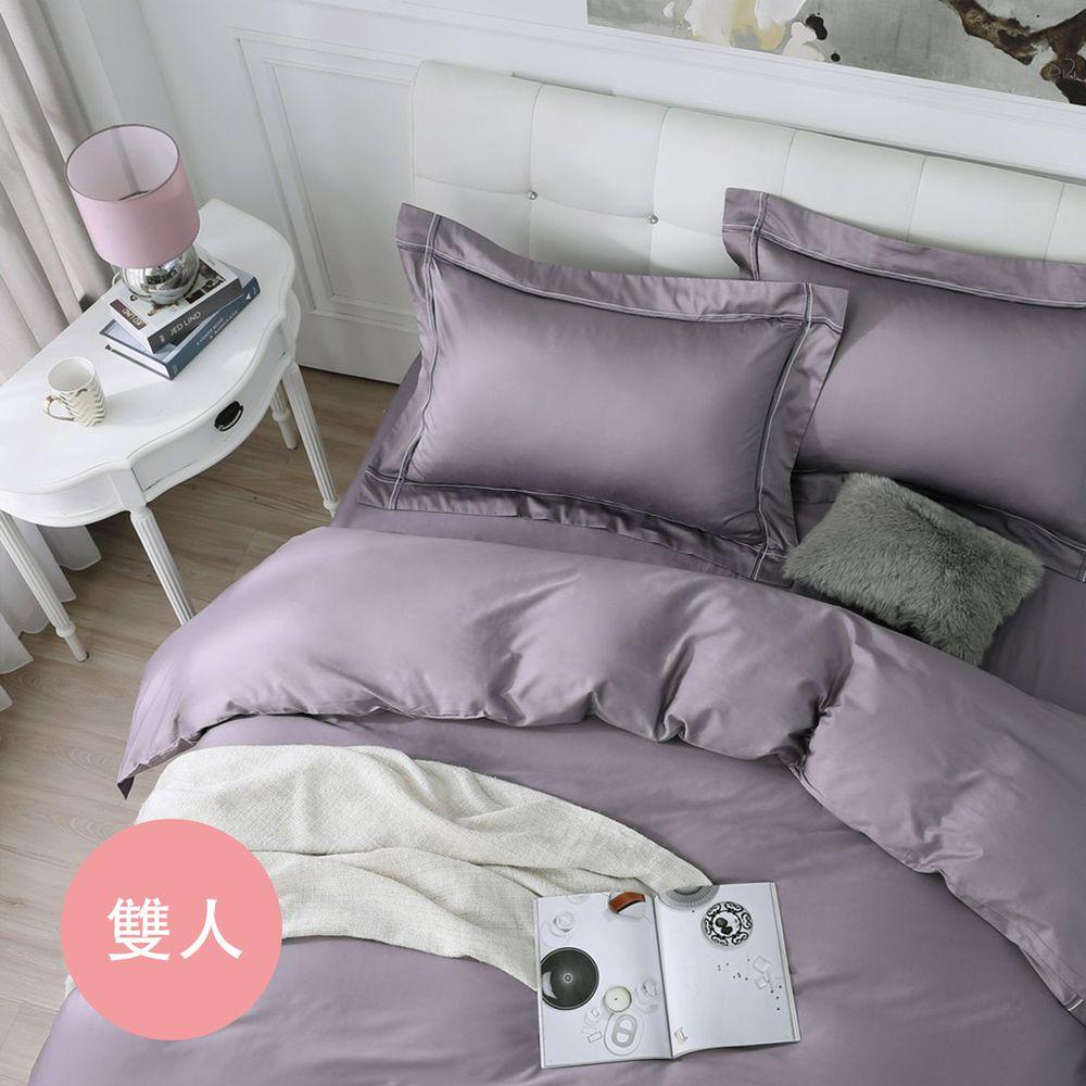 鴻宇HONGYEW - 經典奢華60織300條純色刺繡雙人薄被套-神秘紫-紫-6X7