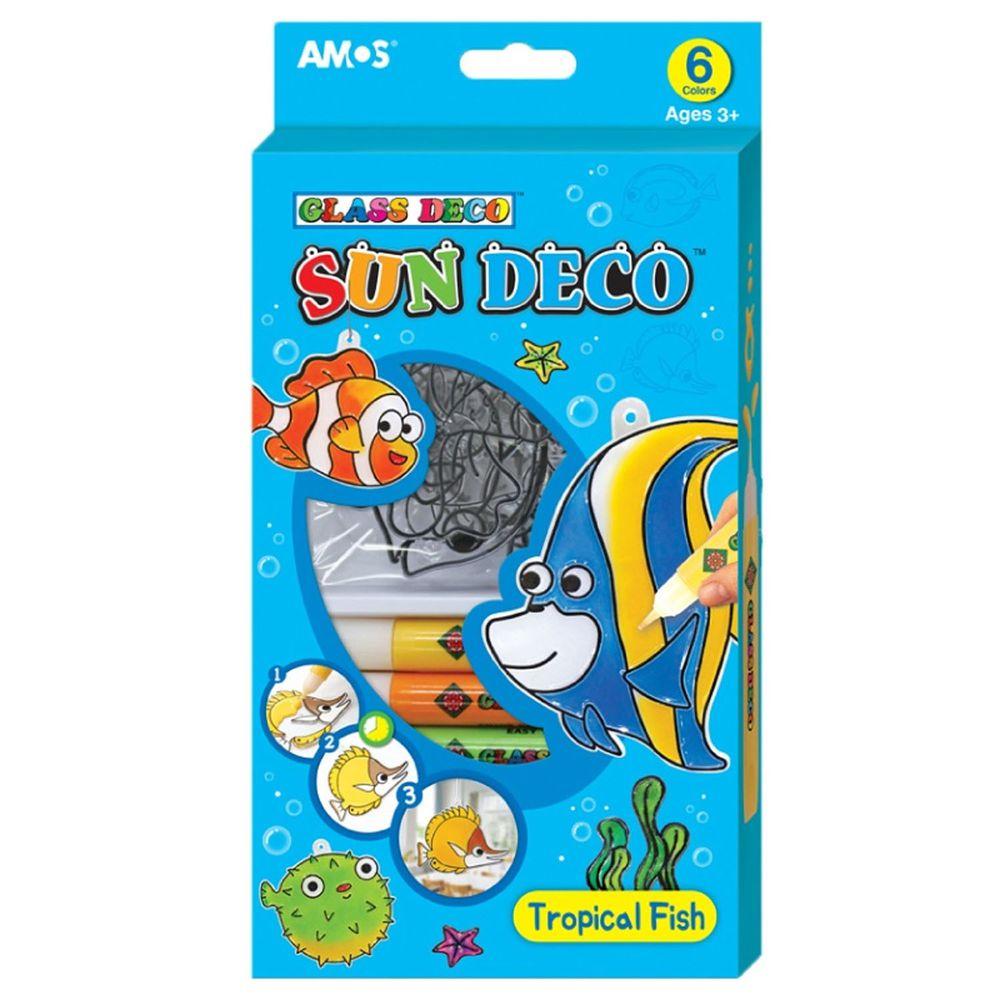 韓國 AMOS - 6色熱帶魚主題吊飾玻璃彩繪膠