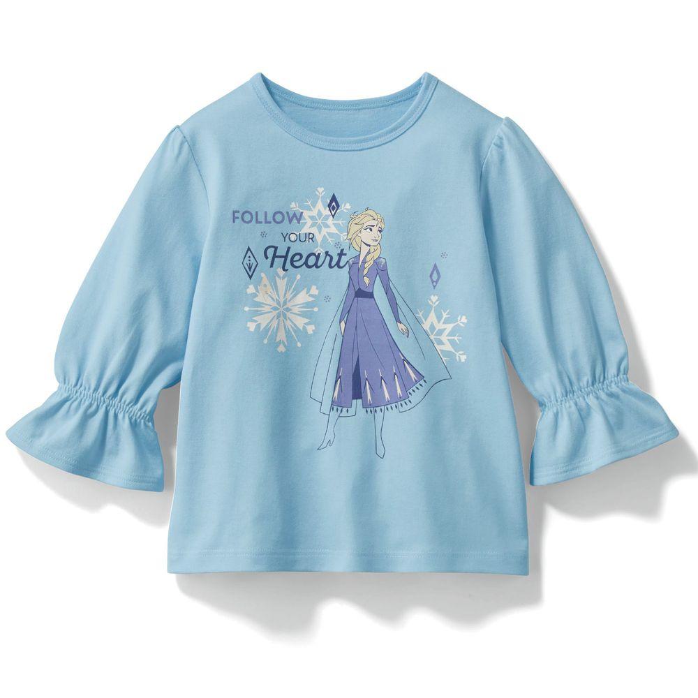 日本千趣會 - 迪士尼印花七分袖T(荷葉袖)-艾莎-水藍