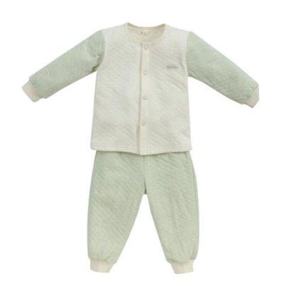 經典條紋系列-有機棉長袖前開套裝-秋冬款-粉綠