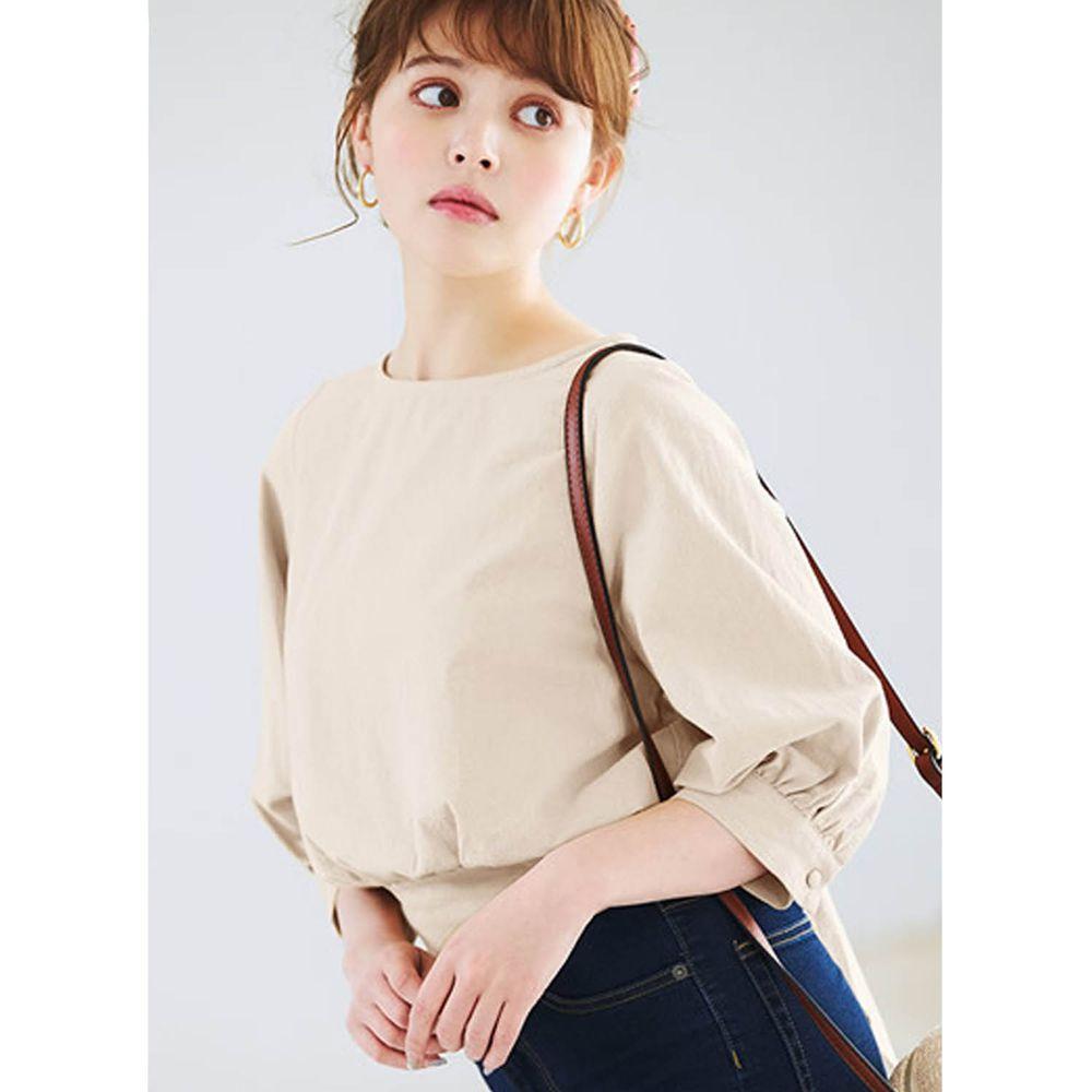 日本 GRL - 後腰大蝴蝶結綁帶五分袖上衣-象牙白