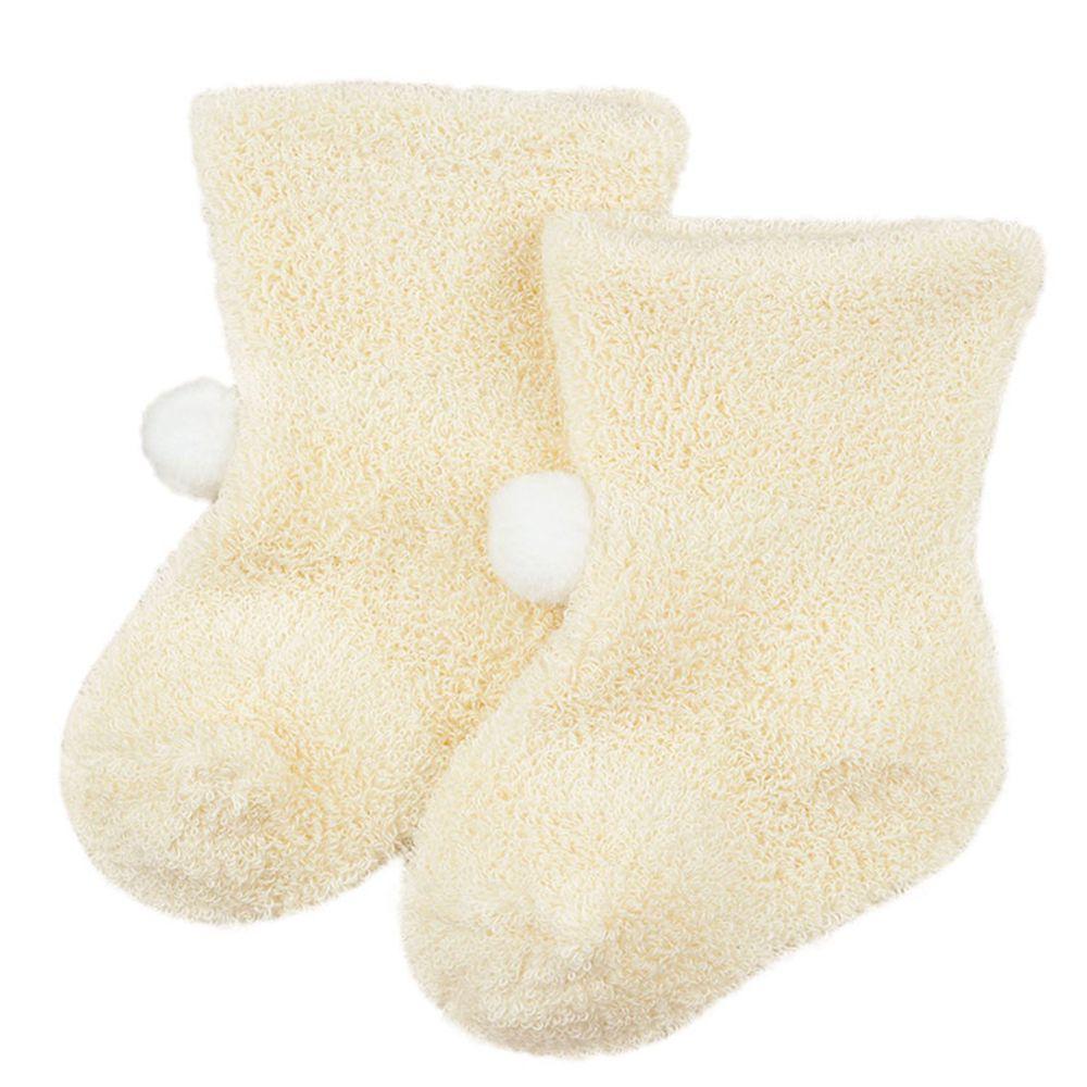 akachan honpo - 小毛球毛巾襪-米白色 (7~9cm)
