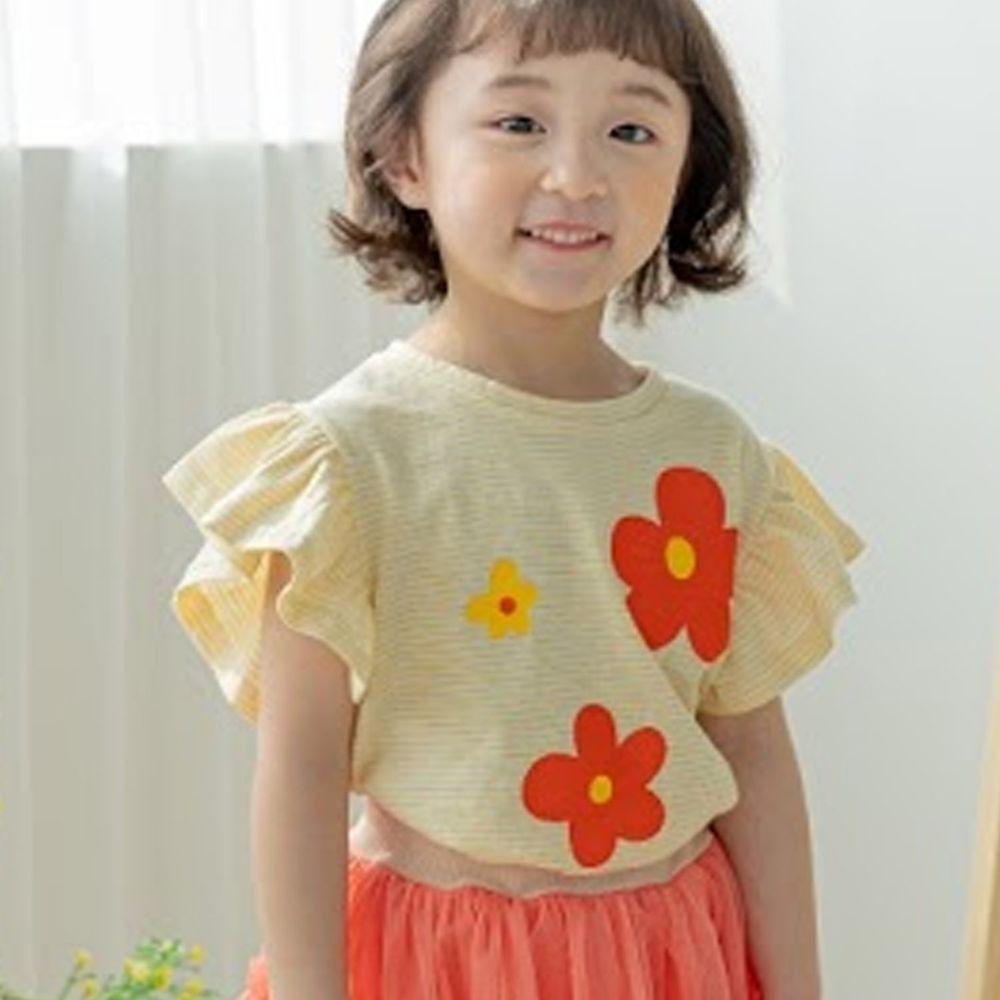 韓國 Orange Mom - 三朵花花條紋荷葉袖上衣-鵝黃