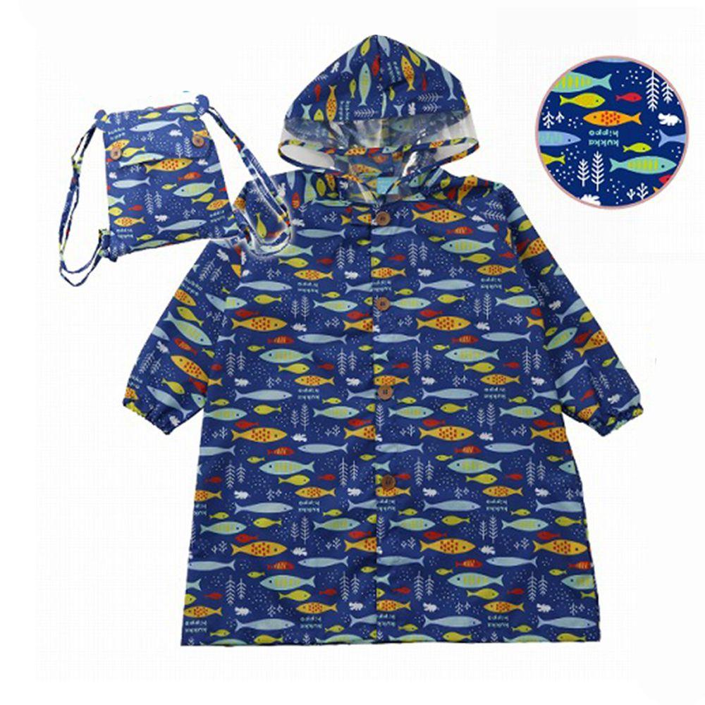 日本 kukka hippo - 小童雨衣(附收納袋)-海洋世界