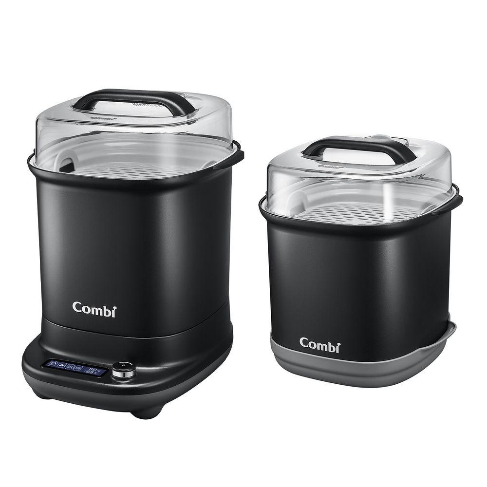 日本 Combi - GEN3消毒溫食多用鍋-1 + 1 實用組-曜石黑-消毒溫食多用鍋+奶瓶保管箱