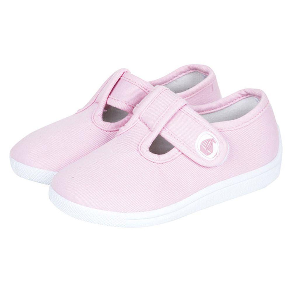 英國 JoJo Maman BeBe - 嬰幼兒童帆布鞋/休閒鞋-淡粉