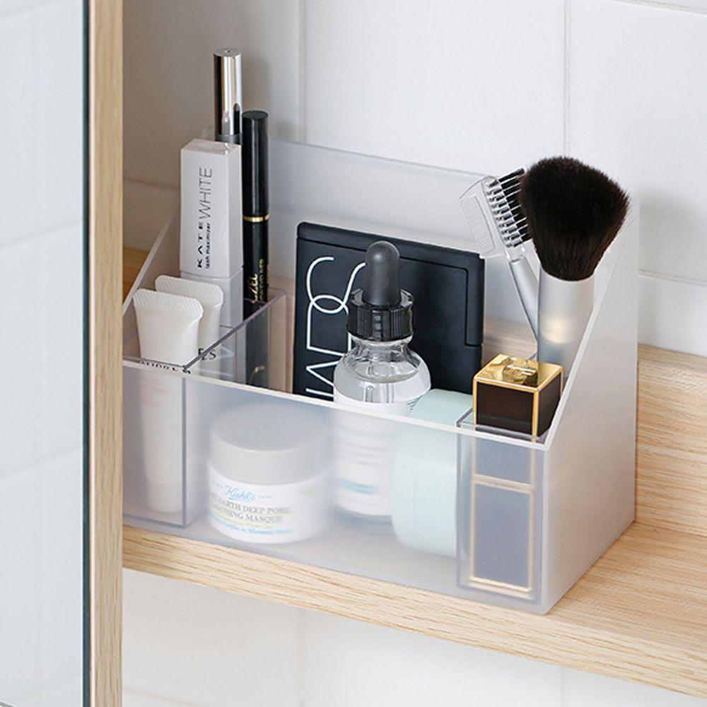 日本霜山 - 無印風彩妝保養品分類收納盒-附分隔盒