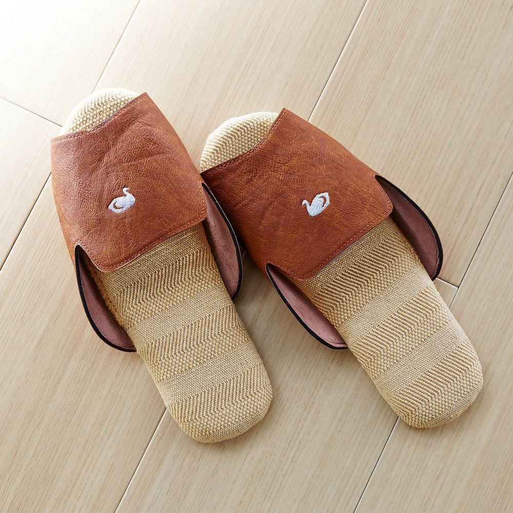 日本千趣會 - 仿皮刺繡棉麻室內拖-天鵝-咖啡