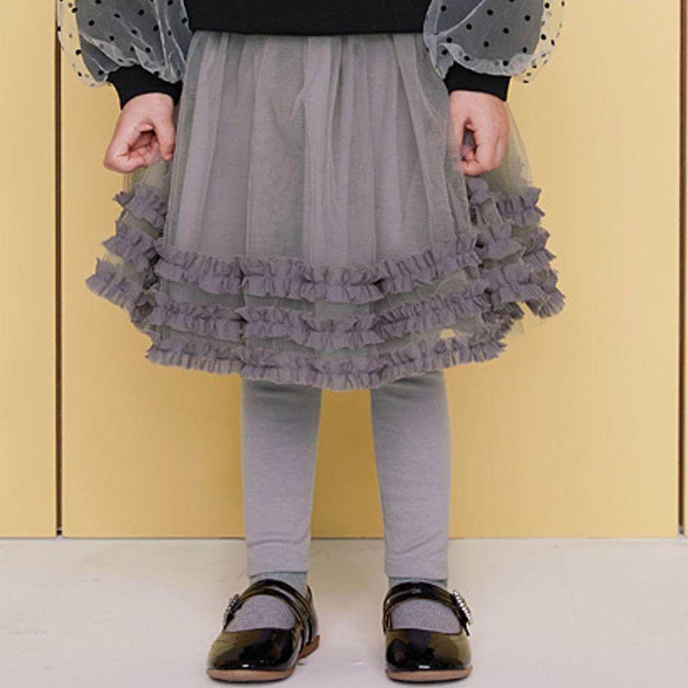 韓國 WALTON kids - 荷葉裝飾網紗褲裙-灰