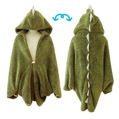 可愛動物立體保暖披肩/毛毯-恐龍