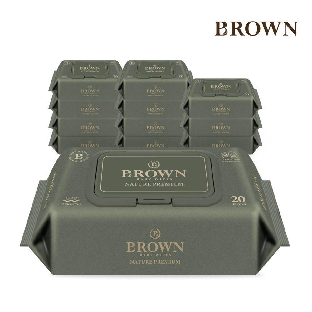 韓國BROWN - NATURE SENSITIVE濕紙巾-伊蘭20抽(含蓋)*12包