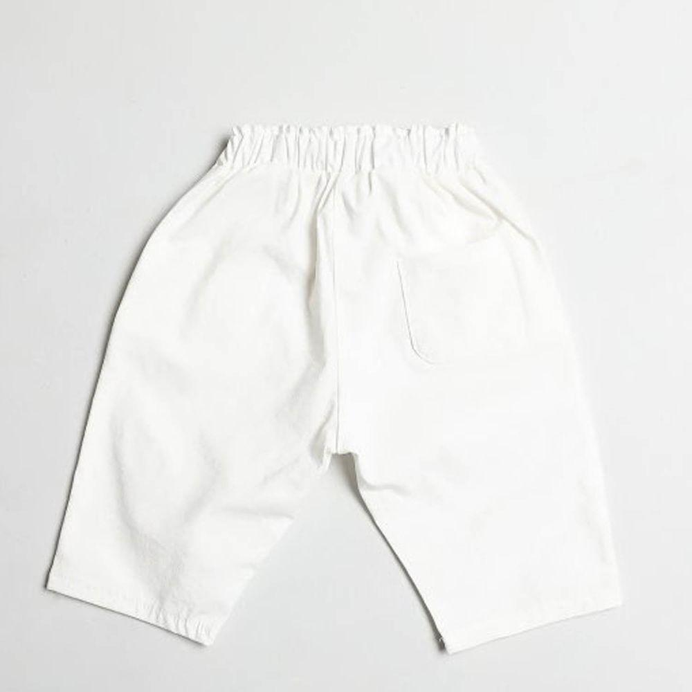 韓國製 - 棉麻7分哈倫褲-白
