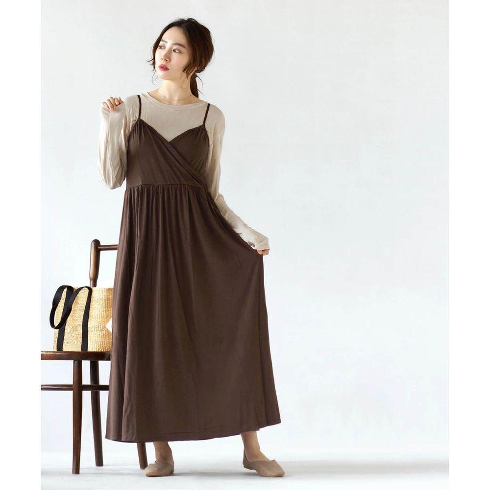 日本 zootie - 舒適交叉細肩帶洋裝-深咖啡 (Free)