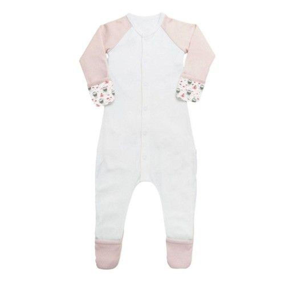 美國 GOUMIKIDS - 有機棉包腳睡衣-企鵝-粉色