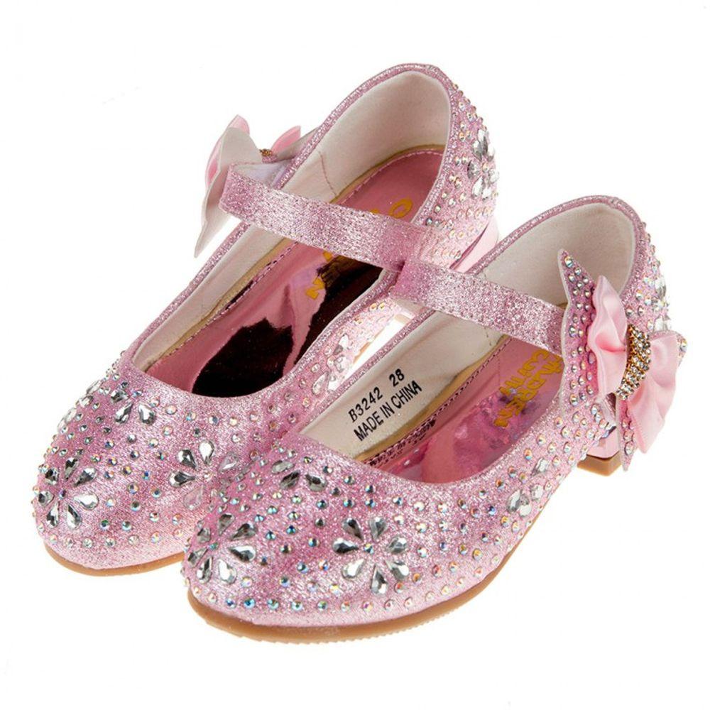 華麗風格璀燦亮鑽粉色低跟公主鞋
