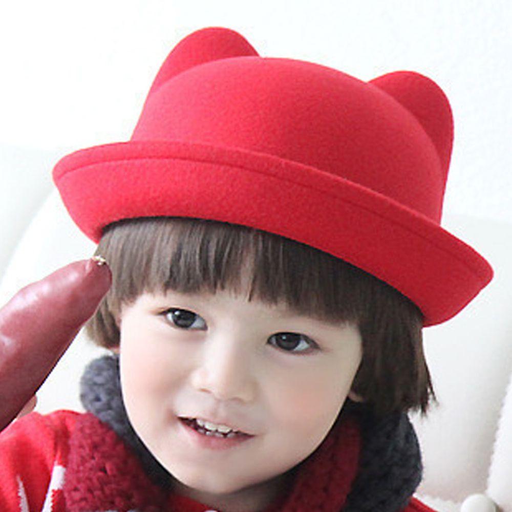 韓國 Babyblee - 挺版耳朵造型帽-紅 (FREE)