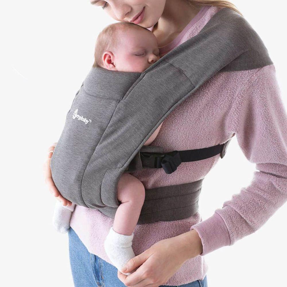 美國ERGObaby - Embrace環抱二式初生嬰兒背帶-灰色