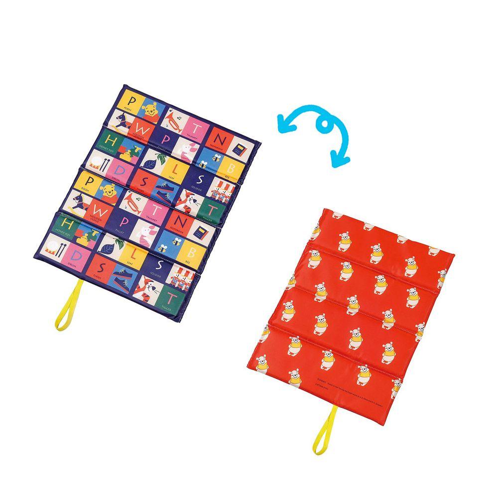 日本 Pearl 金屬 - 迪士尼單人折疊坐墊(1cm厚)-維尼繽紛格子-藍X紅 (34×27.5cm)