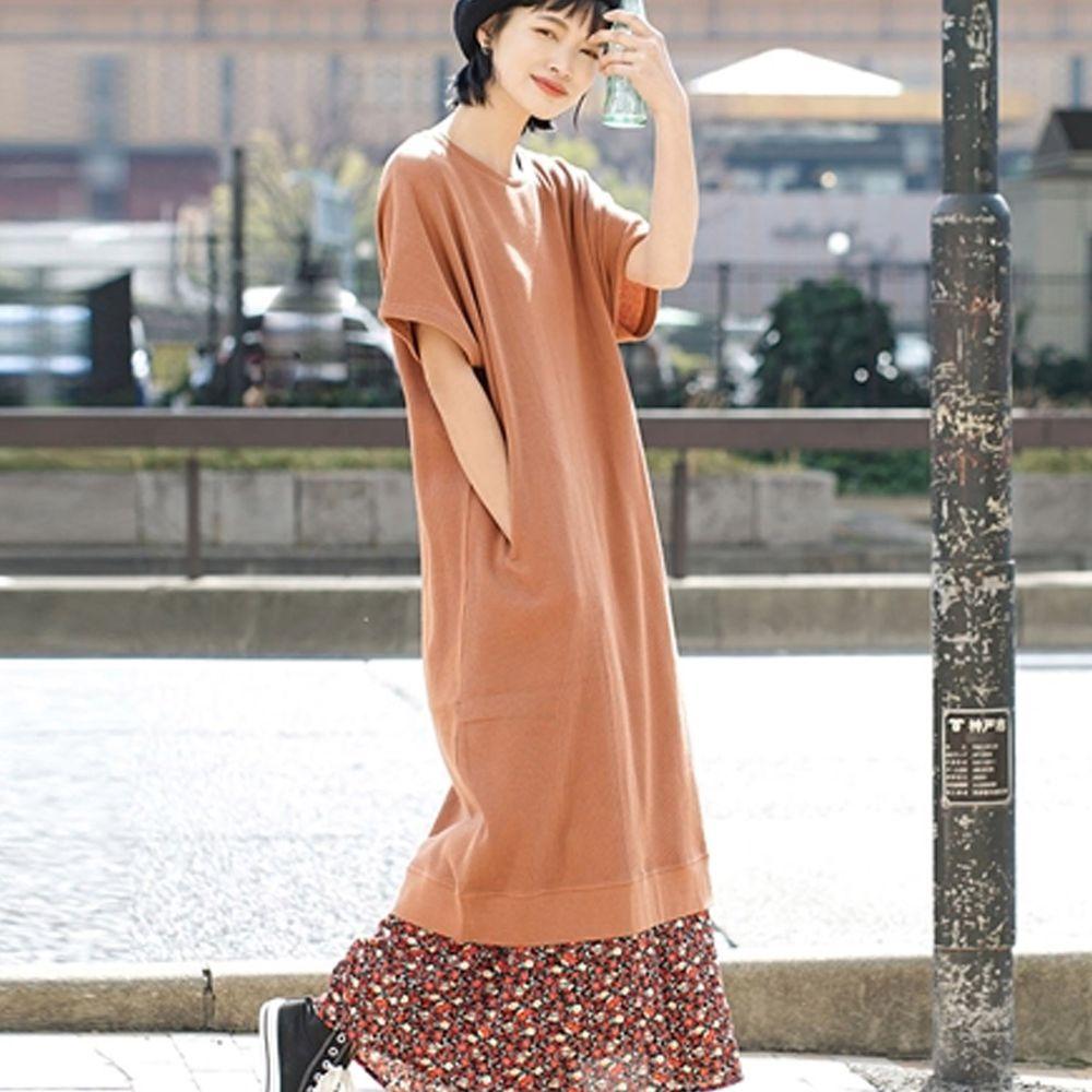 日本 zootie - 純棉 顯瘦鬆餅紋五分袖洋裝-磚橘 (Free)