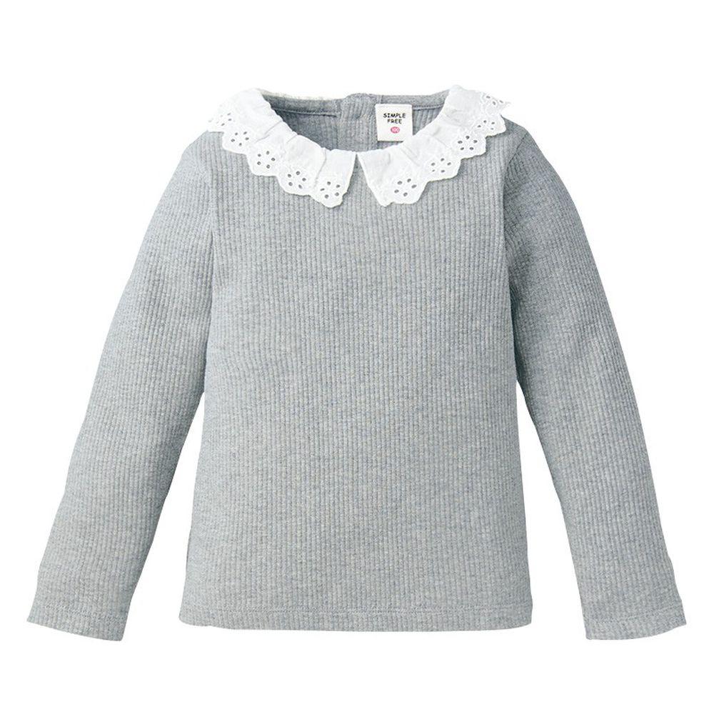 akachan honpo - 女長袖羅紋T恤-灰色