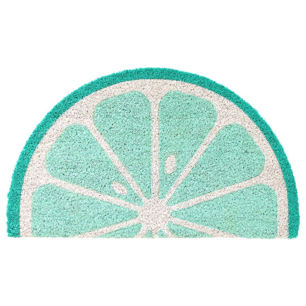 日本 TOMO - (室外款)半圓形刮泥沙地墊-檸檬-藍綠 (約35x60cm)