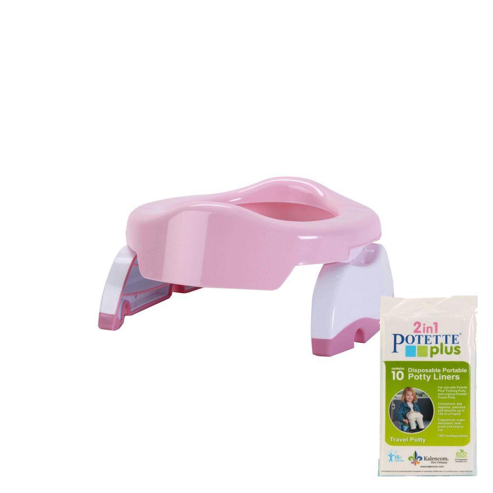 美國 Potette Plus - 可攜式馬桶-浪漫粉+拋棄式防漏袋10入裝)
