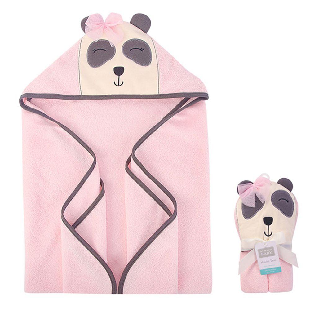 美國 Luvable Friends - 嬰幼兒動物造型100%純棉連帽浴巾/包巾-微笑浣熊