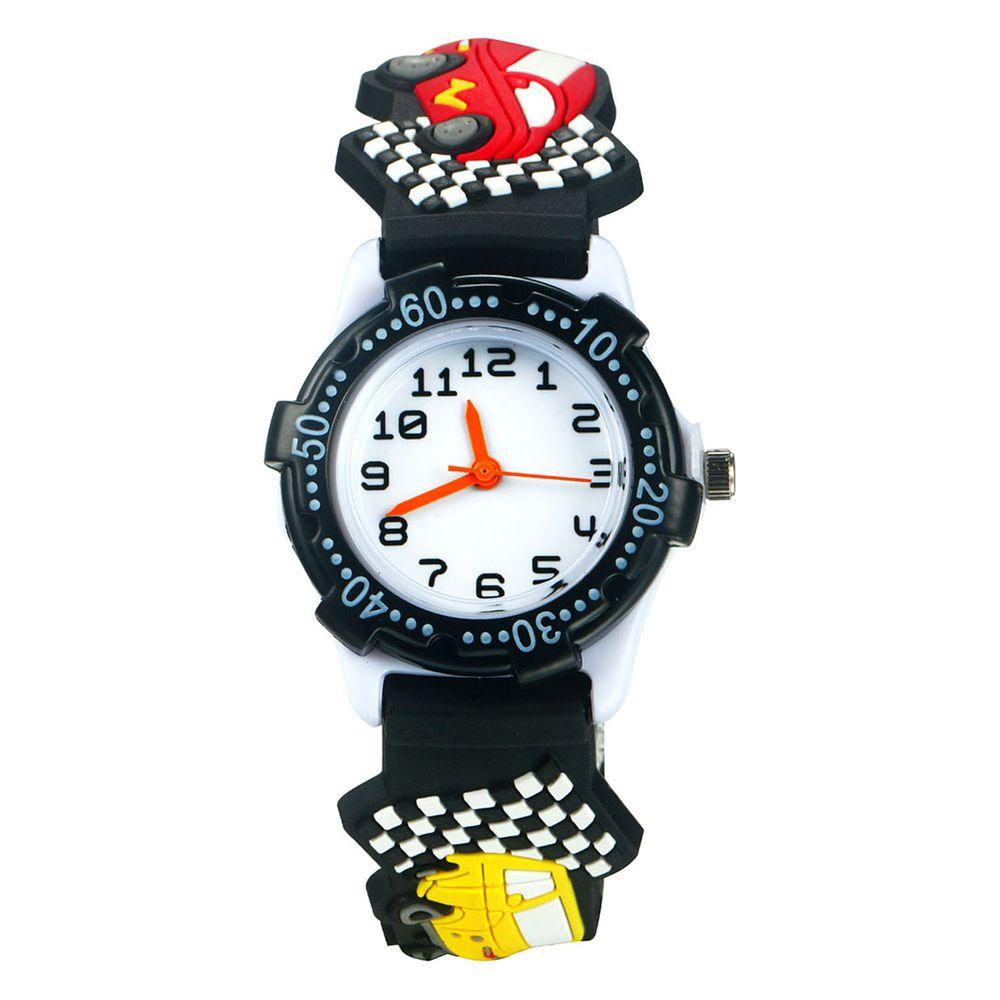 3D立體卡通兒童手錶-可旋轉錶圈-黑色賽車