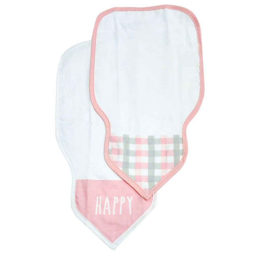 akachan honpo - 吸汗背巾2入組-格紋-粉紅色 (34×19cm)