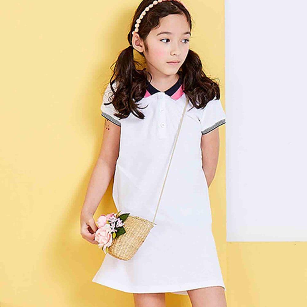 麗嬰房 Little moni - 甜美俏麗女孩POLO洋裝-白色