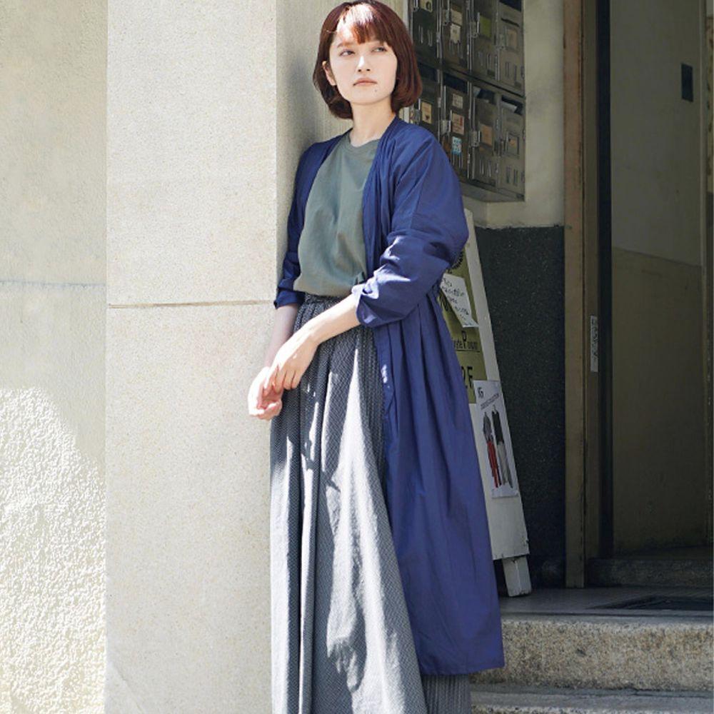 日本 zootie - 純印度棉長版綁帶罩衫/外套-海軍藍 (F)