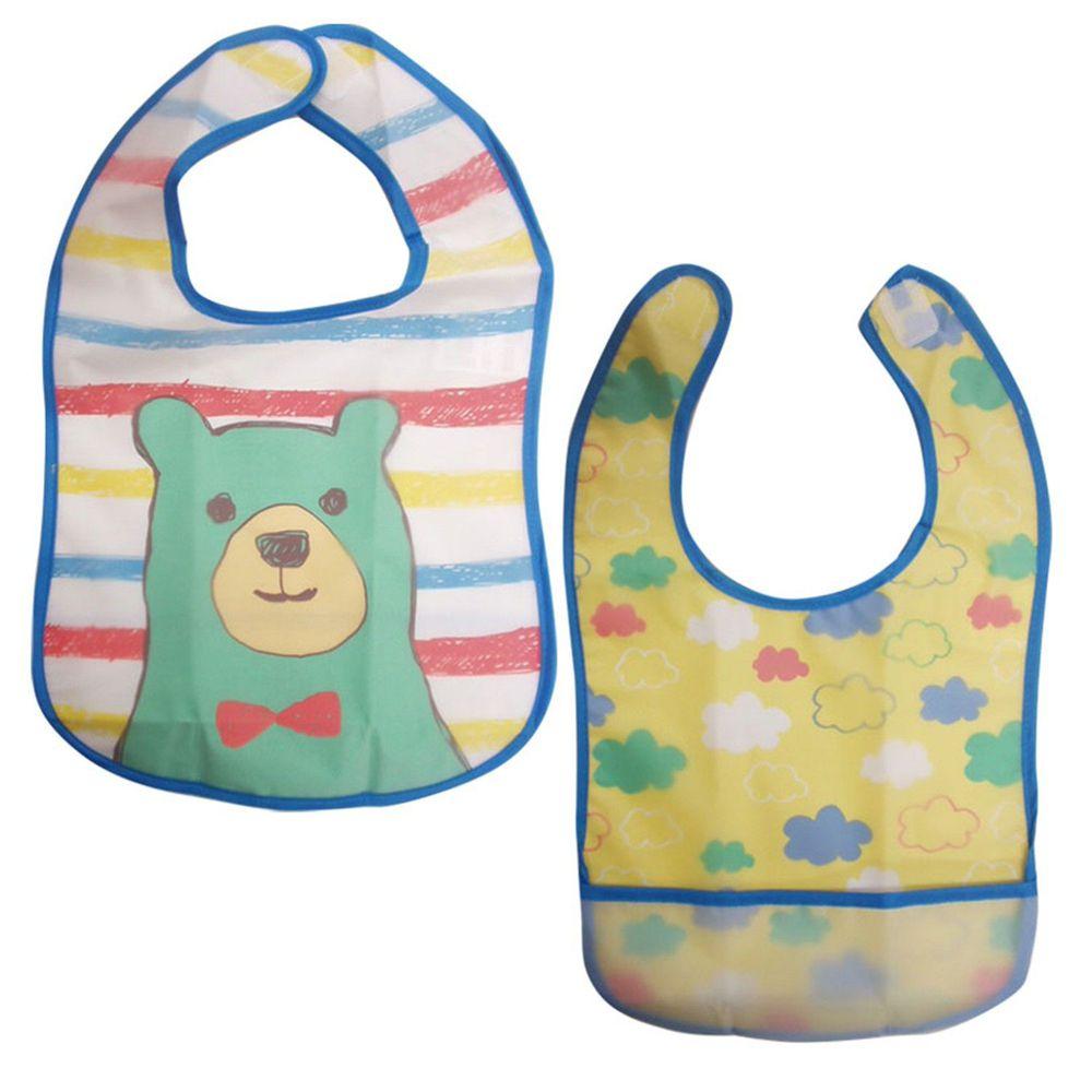 akachan honpo - 嬰幼兒防水圍兜2件組 B-藍色