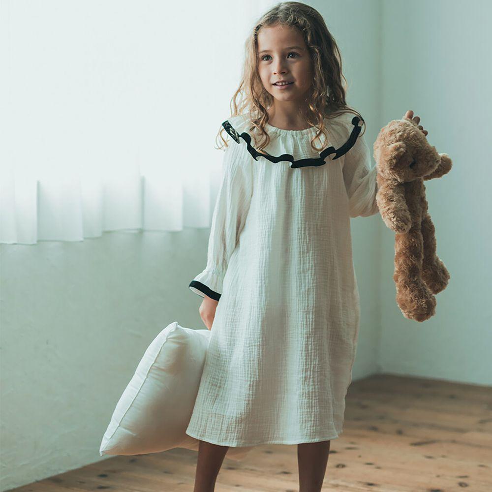 日本 riziere - 純棉 荷葉領撞色長袖洋裝-經典黑白