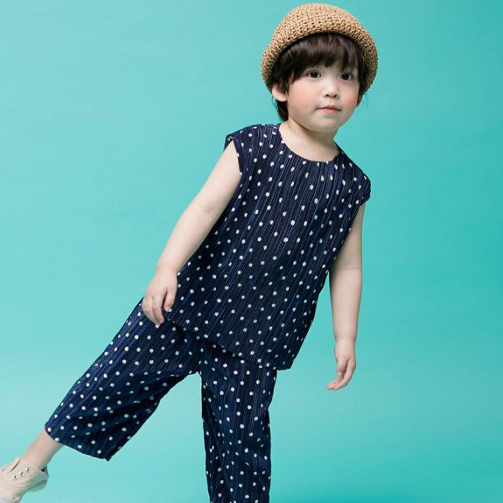 韓國 Hanab - 滿版點點抓皺感套裝-深藍