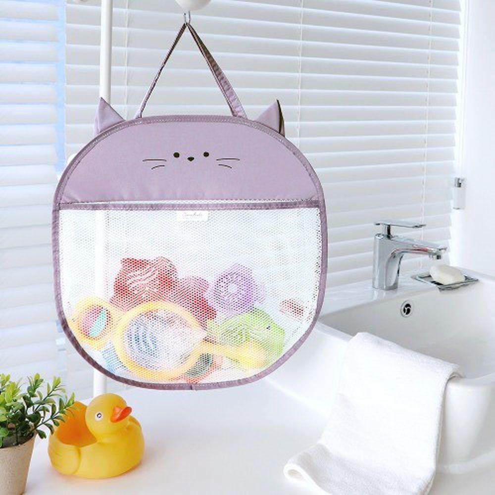 韓國 Conitale - 立體洗澡玩具收納袋-紫色貓咪
