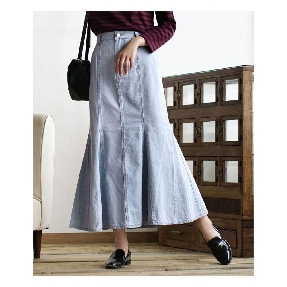 日本 zootie - 魚尾造型牛仔長裙-水藍