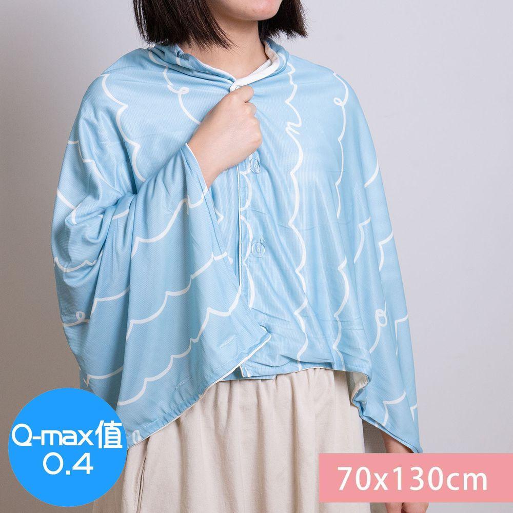日本小泉 - 節電對策冷感薄毯 (附釦可作披肩)-簡約線條字母-水藍 (70x130cm)