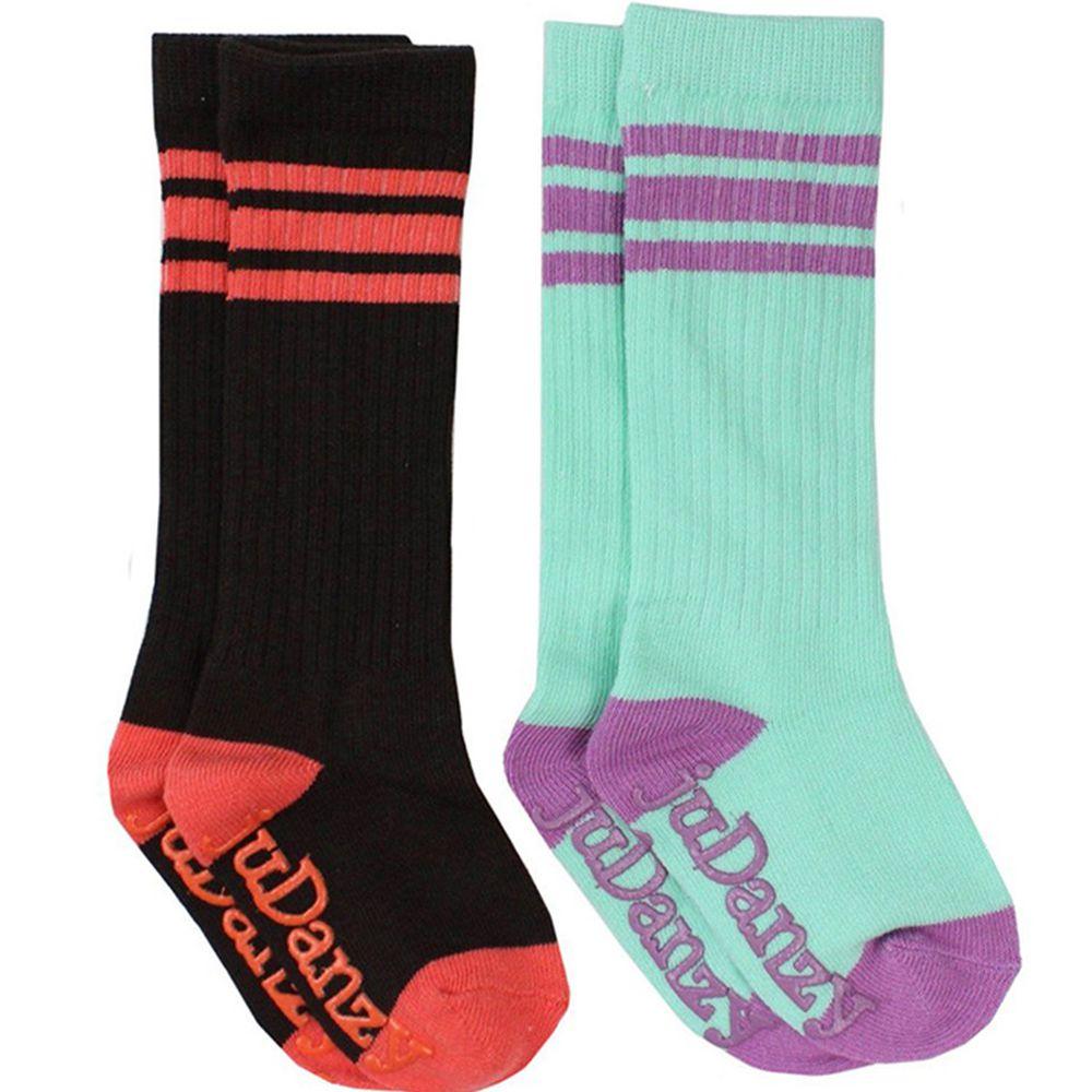 美國 juDanzy - 長襪兩入組-黑與天空藍